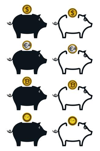 Piggy bank icons with coins