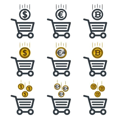 Shopping cart icons with currencies
