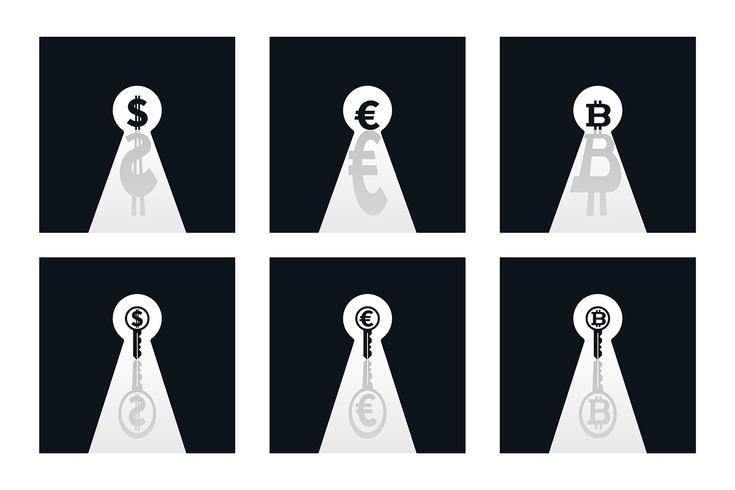 Währungen in Schlüssellöchern
