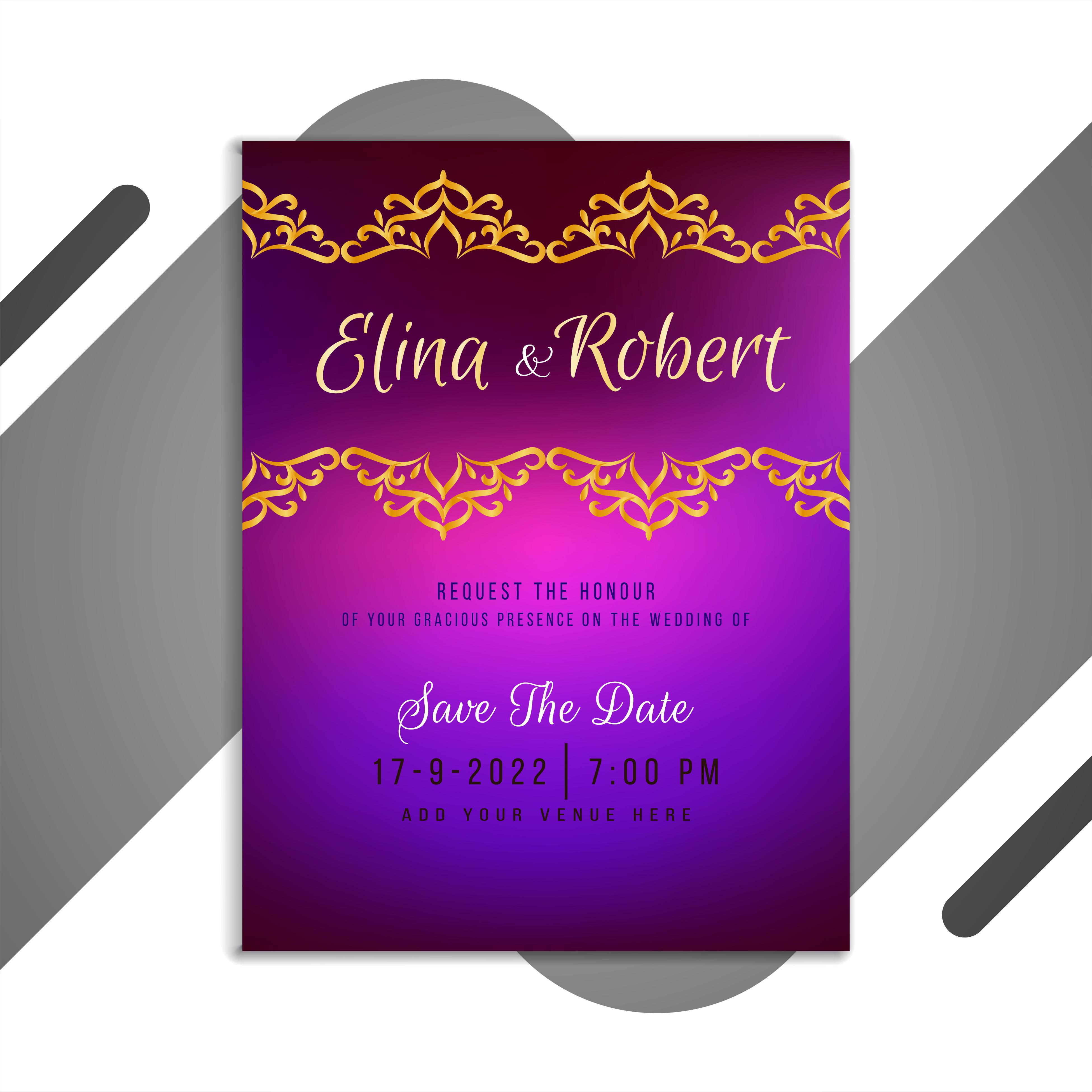 wedding invitation card with purple gradient  download
