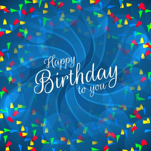 Texto de feliz cumpleaños con confeti de colores