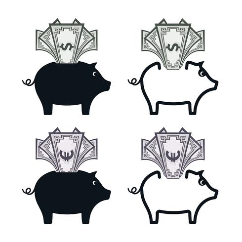 Piggy bank icons with banknotes
