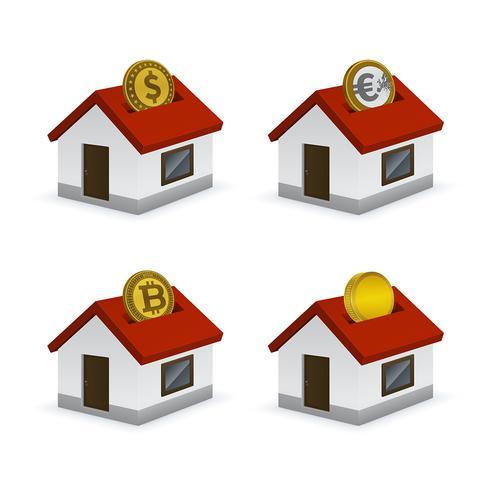 Haus geformte Sparschweinikonen mit Währungen