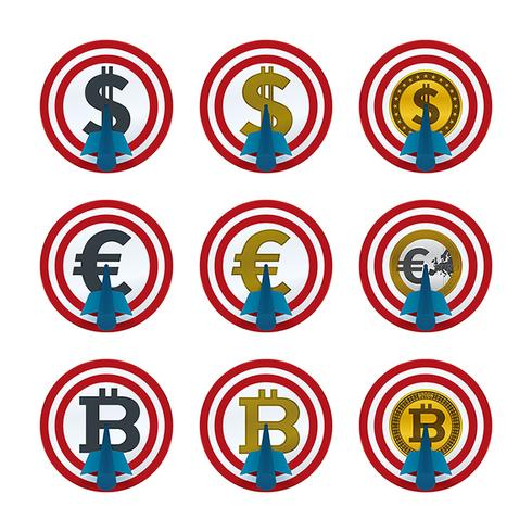 Currencies and arrows on target boards vector