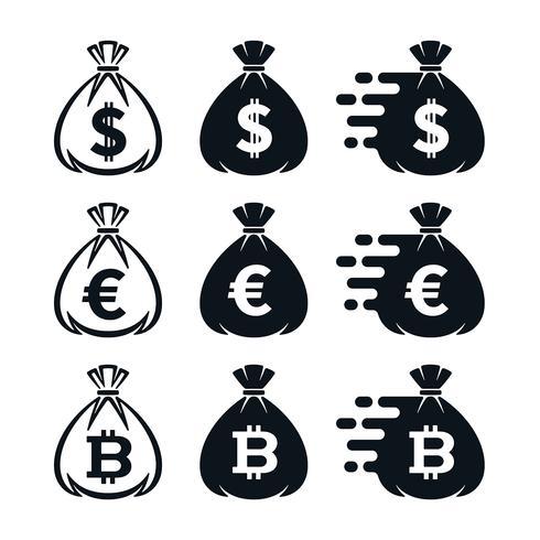 Icone del sacchetto dei soldi con i simboli di valuta