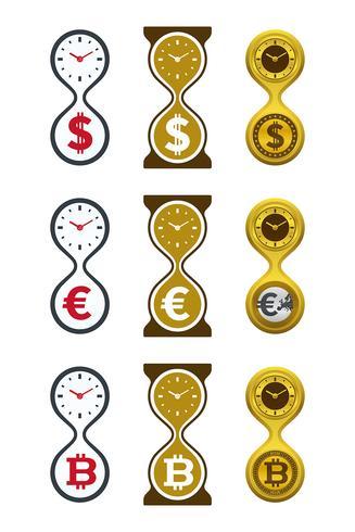 Zandloperpictogrammen met valuta's