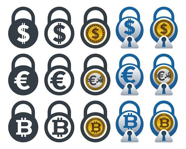 Icone lucchetto con valute