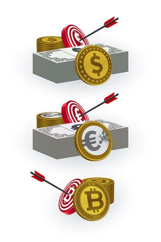 Coins, banknotes, target boards and arrow symbols