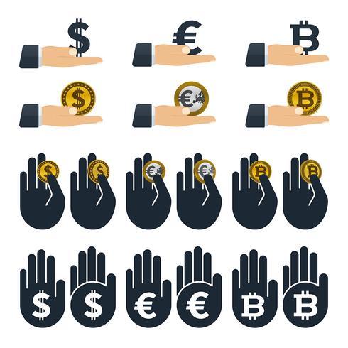 Monnaies en mains