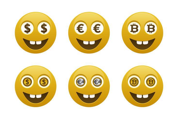 Emoticons de smiley com moedas
