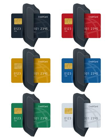 Schild Symbole mit Globus gemusterten Kreditkarten