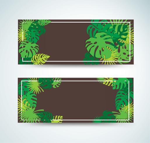 tropische Blätter Vorlage Hintergrund Vektor-Illustration