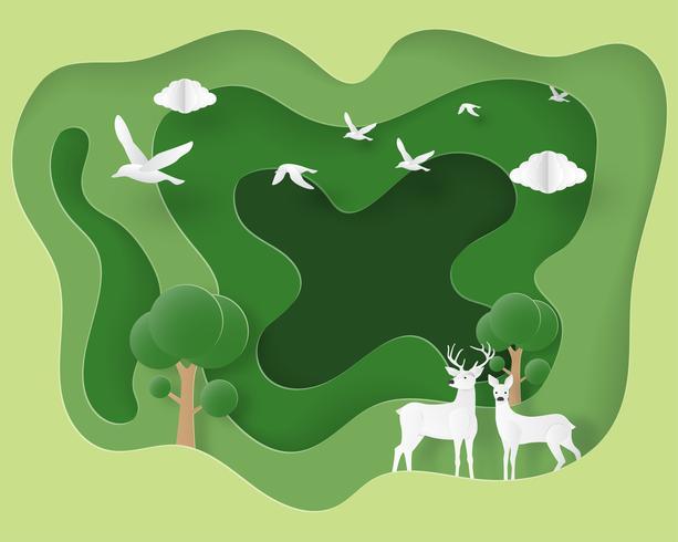 Pareja de ciervos en bosque en papel cortado estilo