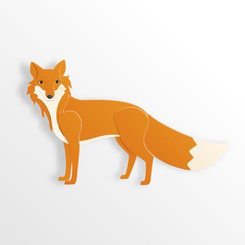 Fox-Charakter in der Papierschnittart auf weißem Hintergrund.