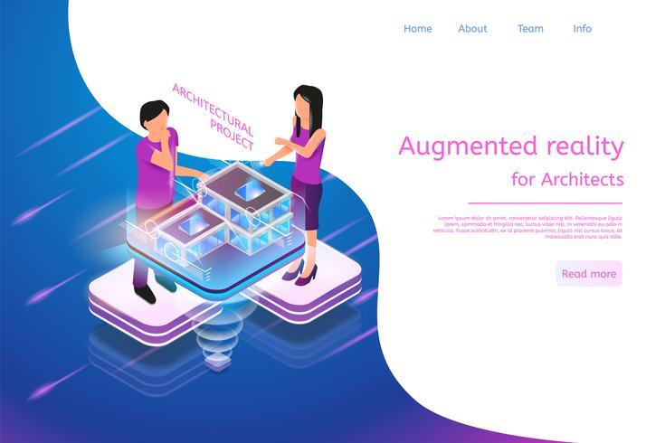 Banner isométrico Realidad aumentada para arquitectos vector