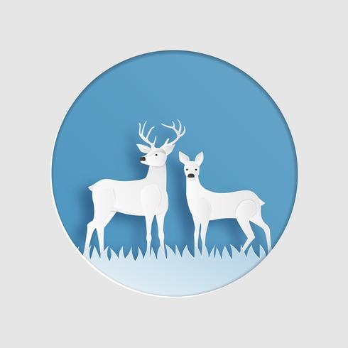 reindeer couple in winter grass field in paper cut style