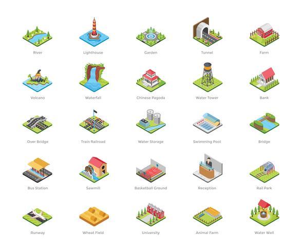 Iconos de arquitectura y actividades recreativas vector