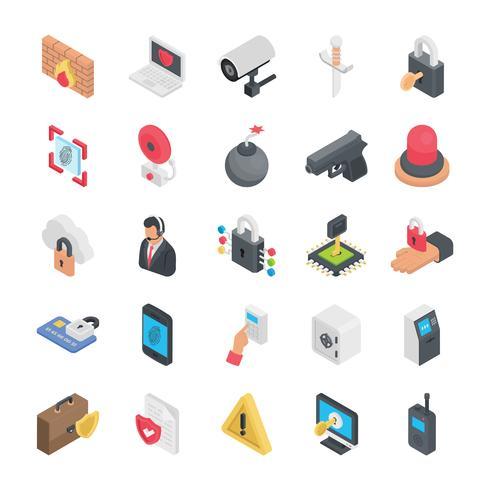 Iconos planos de seguridad vector
