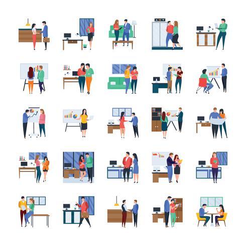 Geschäftstreffen und Work in Progress Flat Icon Pack