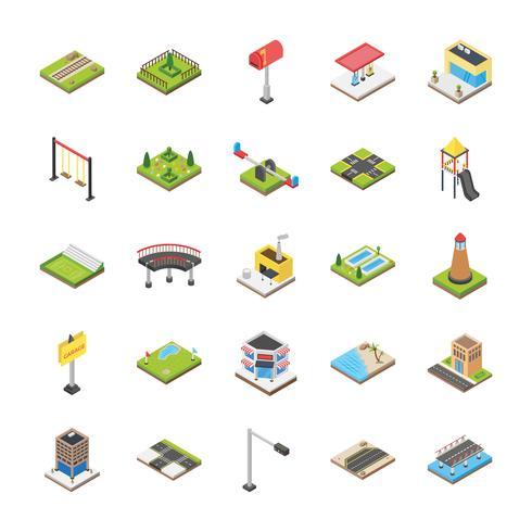 Conjunto de iconos de elementos urbanos y suburbanos