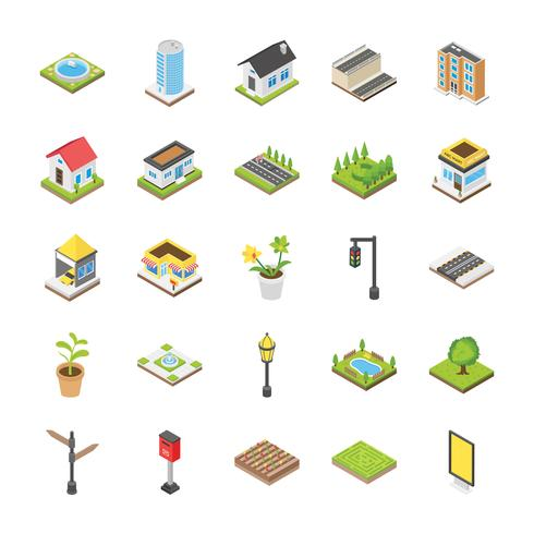 Cityscape Isometric Icon Set