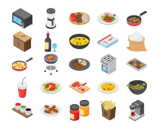 Paquete de iconos planos para cocinar alimentos