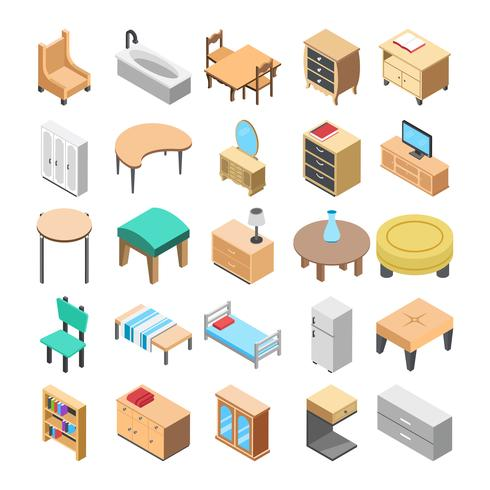 Wooden Furniture Flat Vector Icon Pack