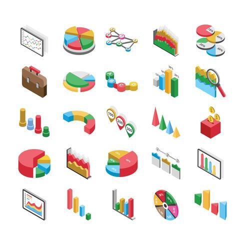 Pack di icone piatte di grafici a barre