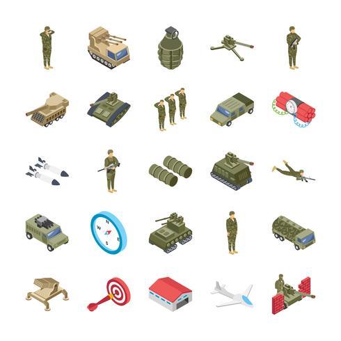 Militär, specialstyrkor och armé ikoner set vektor