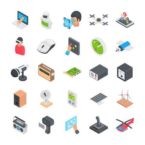 Spel en technologie plat pictogrammen