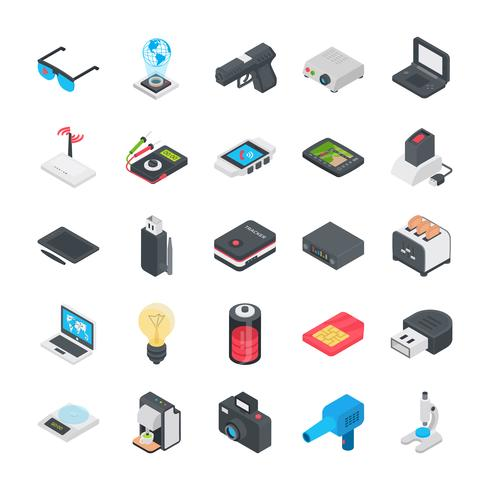 Technologie et autres objets Flat Icon Set