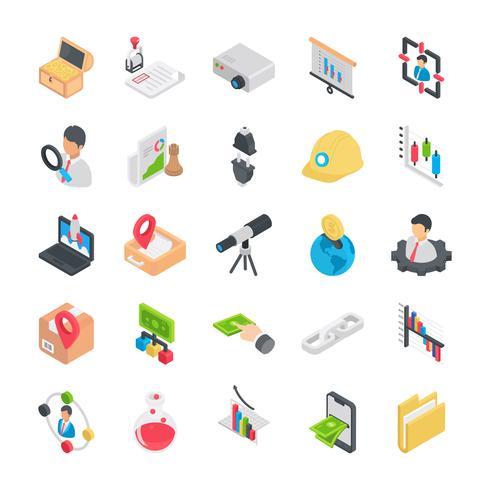Pack de iconos de elementos comerciales planos vector