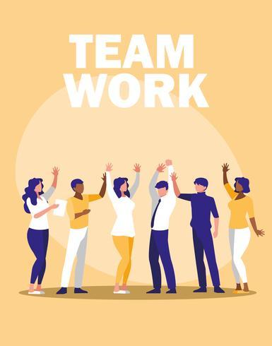 gente de negocios trabajo en equipo en el lugar de trabajo vector