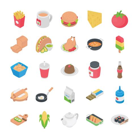 Cozinha Flat Icons vetor