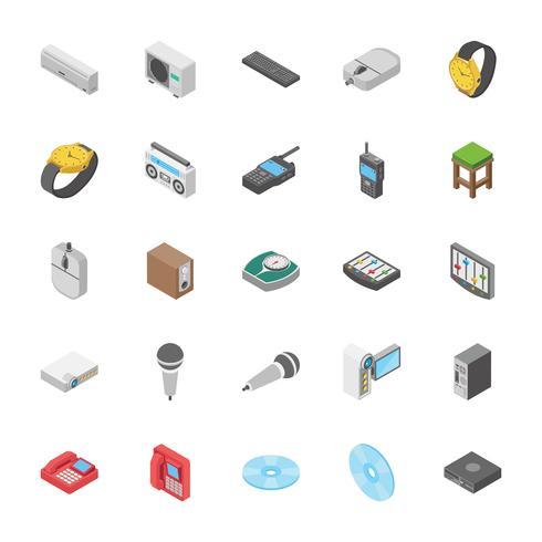 Insieme isometrico di icone elettroniche e altri oggetti