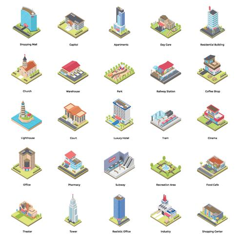 Buildings Isometric Icons Set vector