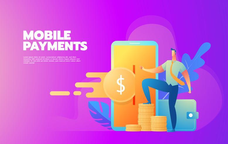 Procesamiento de pagos móviles vector