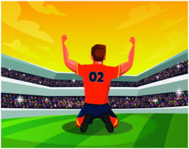Fotbollsspelare som knä på fältet vektor