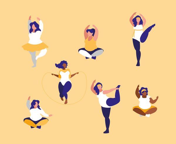 grupo de mujeres grandes haciendo ejercicio
