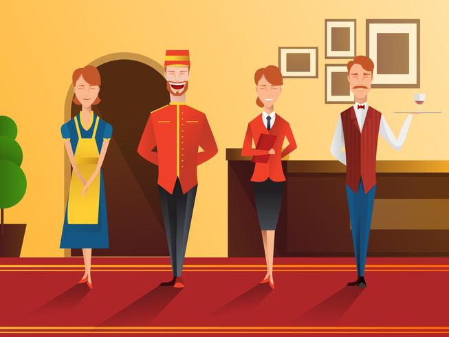 Smiling Hotel Staff  vector