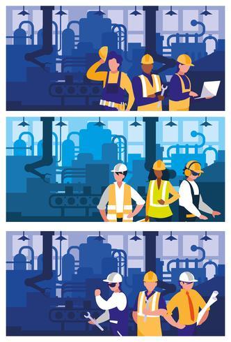 personas que trabajan en la escena de la fábrica