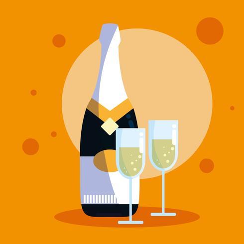 garrafa de champanhe com copos