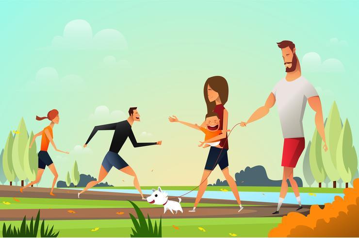 Familia joven feliz con perro vector