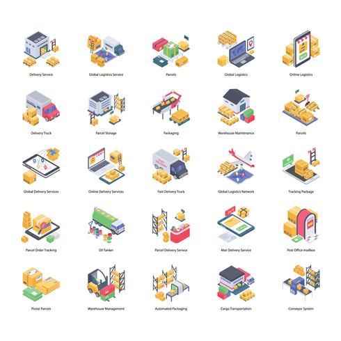 Lot d'icônes de livraison logistique vecteur