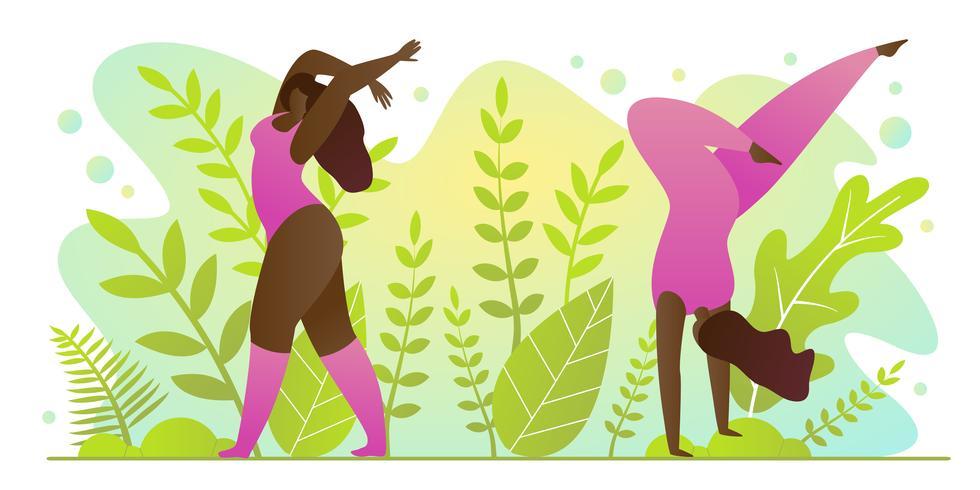 Prática de Yoga para o verão no parque Cartoon Flat. vetor