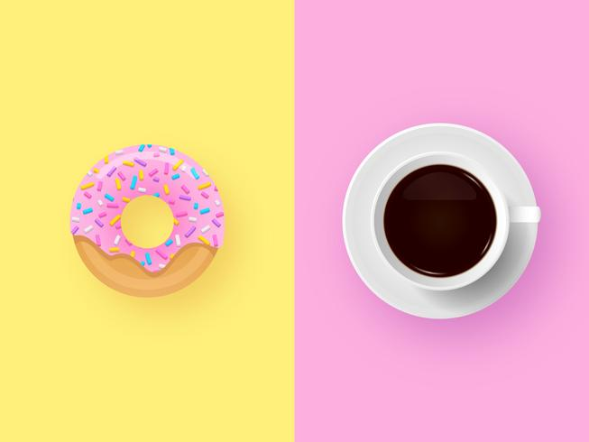 Cup Of Coffee With Donut Pop Background vector