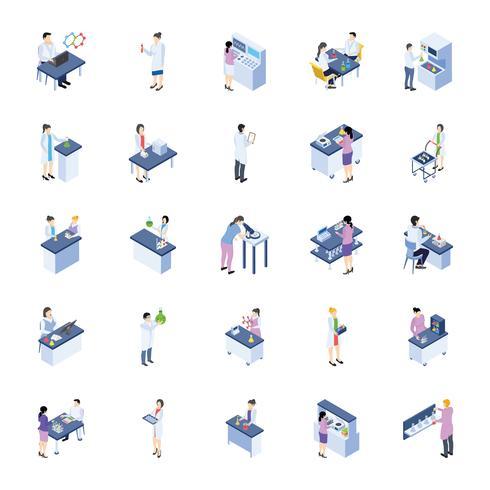 Paquete de iconos isométricos de laboratorio científico