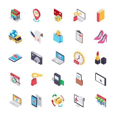E-handel och shopping flat ikoner vektor