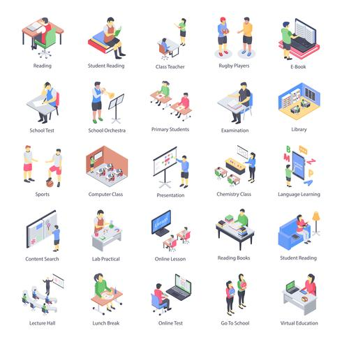 Insegnante Children and School Isometric Icons Set vettore