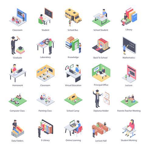 Leraar kinderen en school isometrische pictogrammen Pack